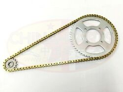 Heavy Duty O Ring Chain And Sprockets Set Gold For Sinnis Blade 125 Rear Disc Mod