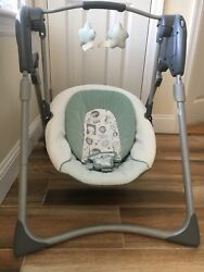 Graco Slim Spaces Compact Infant Baby Swing 4446 Adjustable Height Foldable