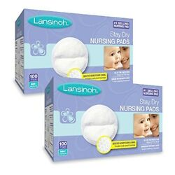Lansinoh Nursing Pads 2 Packs of 100 (200 Count) Stay Dry Disposable Breast