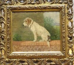 Fine 19th Century English Portrait Of A Terrier On A Wall Dog by Arthur BATT