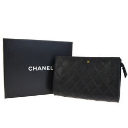 Authentic CHANEL CC Logos Quilted Cosmetic Pouch Hand Bag Leather Black 61EG234