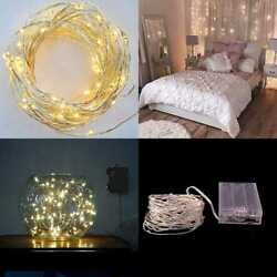 19.7Ft Battery Operated Warm WHITE LED String Lights. 100 TINY Bright Lights On