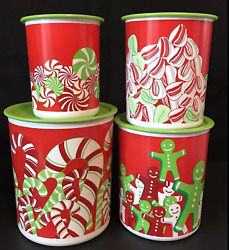 Tupperware Holiday Candy Cane One Touch 4 Pc Canister Set New 5,8,12,17.5,23 Cup