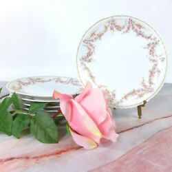 Set Of 6 Vintage Theodore Haviland Limoges Pink And Yellow Rose Salad Plates 7.50