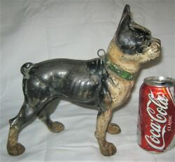 X RARE ANTIQUE US CAST IRON SIGN I.C.C. FORWARD BOSTON TERRIER DOG HOME DOORSTOP