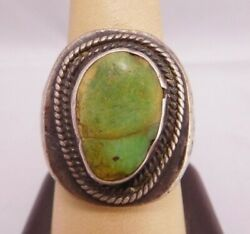 Old Pawn Native American Indian Sterling Silver Turquoise Stone Men's Ring