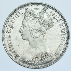 1886 Gothic Florin British Silver Coin From Victoria Au
