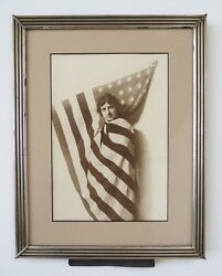 Patriotic Americana Photograph Woman Wrapped The Flag Stars And Stripes 1930s Vtg