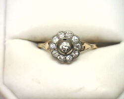 Antique Victorian 18k Gold Sterling Diamond Cluster Ring 0.75ct Tw Size 7.5