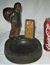 Antique Us Hubley French Peasant Boy Basket Cast Iron Ashtray Stand Match Holder