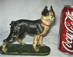1 ANTIQUE HUBLEY USA CAST IRON BOSTON TERRIER TOY DOG STATUE PAPERWEIGHT BOOKEND