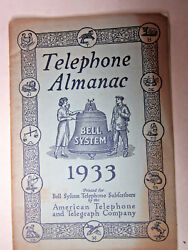 Vtg Paper Telephone Almanac 1933 Bell System American Telephone And Telegraph