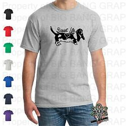 Funny Basset Hound T Shirt Mens I love my Dog Dad Heart Gift Fathers Day S M L X