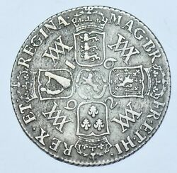 Rare 1692 Shilling British Silver Coin From William And Mary Avf/vf