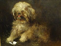 Large 19th Century English Terrier Dog Portrait Antique Oil Painting