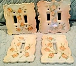 4 VINTAGE LOOKING ANTIQUE PORCELINE  LIGHT SWITCH PLATE OUTLET COVER