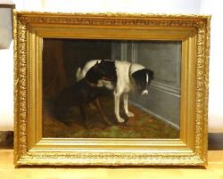 Huge 19th Century French Jack Russell Manchester Terrier Dog Portrait LE GRAS