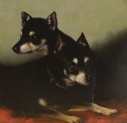 19th Century English Manchester Terriers Dog Portrait by G.W. MILTON of Bath