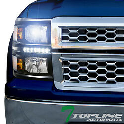 8000K HID XENON+BLK DRL LED HEADLIGHTS SIGNAL LAMP AM DY 2014-15 SILVERADO 1500