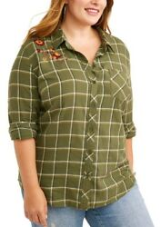 Terra amp; Sky Women#x27;s Plus Size 1X 16W Olive Green Flannel Shirt with Floral $16.95