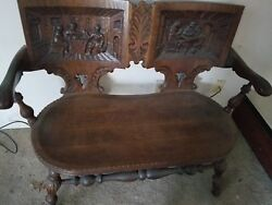 Dark Brown Wooden Antique Bishops Bench Gorgeous Back Rest. Fall In Love Now