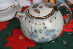Tonala, Mexico Pottery Signed K E Large Tea Pot And Lid With Doves, Birds, Flowers