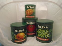 Vintage Delmonte Set Of Green Tin Canisters Very Nice