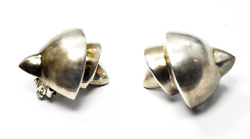 Sterling Elian Large Heavy Conch Shell Stepped Clip On Earrings 32mm X 26mm