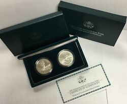 1999-p 1 Yellowstone Commemorative Silver Two-coins Set In Ogp Bu And Proof