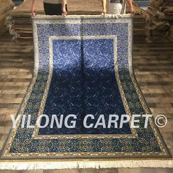 Yilong 5'x8' Blue All Over Style Handmade Silk Carpet Hand knotted Area Rug 073A