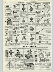 1922 Paper Ad Tinker Toys Whirley Tumble Tilly Tom Bell Gong Pull Toys Tops Horn