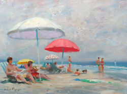 Listed Nino Pippa Original Oil Painting French Riviera Cannes Beach 12x16 Coa