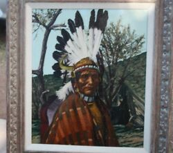 Oil On Canvas Painting By Thomas E. Mails, Titled Elote Jicarilla Chief