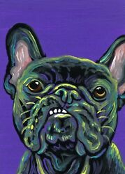 ACEO ATC Original Dog Miniature Painting Rainbow French Bulldog Pet -Carla Smale