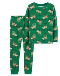 Cute Green Moose Two-piece Baby Cotton Pajamas 18 And 24 Months Lh 4115-16