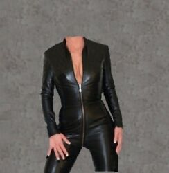 Genuine Leather Women Catsuit Jumpsuit Party Dress With Sleeve