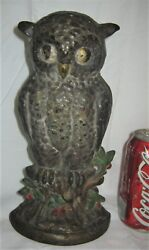 Antique Hubley Toy Co. Usa 254 Owl Tree Stump Holly Berries Cast Iron Doorstop