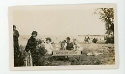 Kids At Beach In Artillery Wagon Pull Toy Cart  Vintage Snapshot Photo