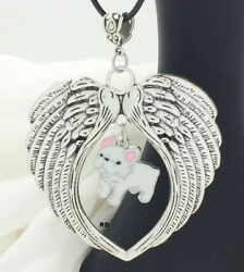 French Bulldog White Puppy Dog Angel Wings Memory Leather Necklace CLEARANCE
