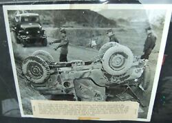 1954 Us Army 8x10 Official Photo From Korean War Overturned Jeep W/ Us Mail Sign