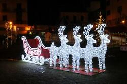 Northlight 19.5' Commercial Size 3D Reindeer Sleigh Christmas Outdoor Decoration