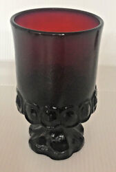 1 Red Glass Goblet Madeira Ruby Red Rancho 120 Tiffin Franciscan Water Stem 1970