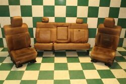04-08 F150 King Ranch Tan Brown Leather Heated Front Captain Rear Bench Seat Set
