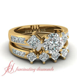 2.85 Ct Round And Princess Cut Yellow Gold Diamond Wedding Ring Sets For Women