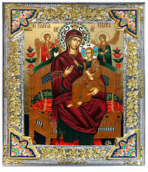 Saint Mary Queen Silver Gold P Jeweled Greek Icon Serigraph Madonna Child 15
