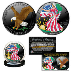 Dual Black Ruthenium Colorized 2-sided 1 Troy Oz 2019 Silver Eagle Coin With Box