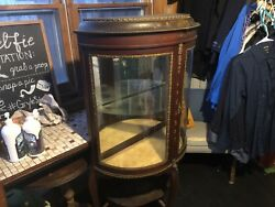 Antique Curio China Cabinet - Curved Glass