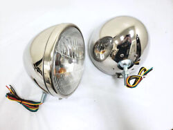 1933 1934 Ford Polished Stainless Headlights W Turn Signal 9 1/2 Chevy Dodge