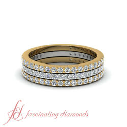 Two Metal 1 Karat Round Cut Diamond Thin Band Stackable Rings For Mothers In 14K