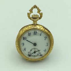 Antique Wittnauer 17j 14k Yellow Gold And Diamond Ladies Open Face Pocket Watch